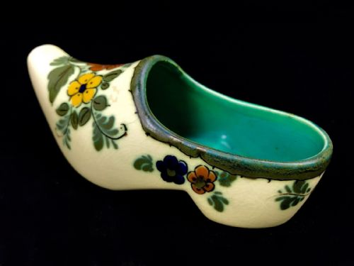 Gouda Pottery / Vase / Shoe / Bowl / Cream / Yellow / Orange / Cream 1950's